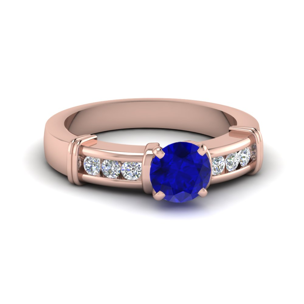 Channel Set Diamond Accents And Sapphire Ring