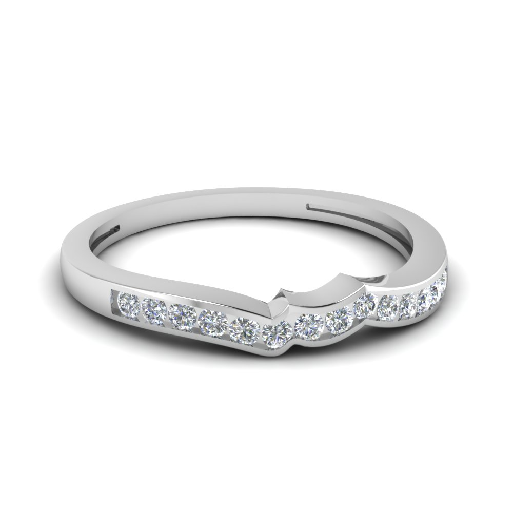 channel set diamond curve band in 14K white gold FDENS3092B NL WG