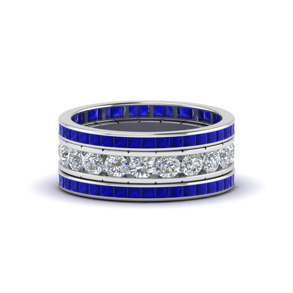 img sapphire channel bands princess diamond cut set wedding band