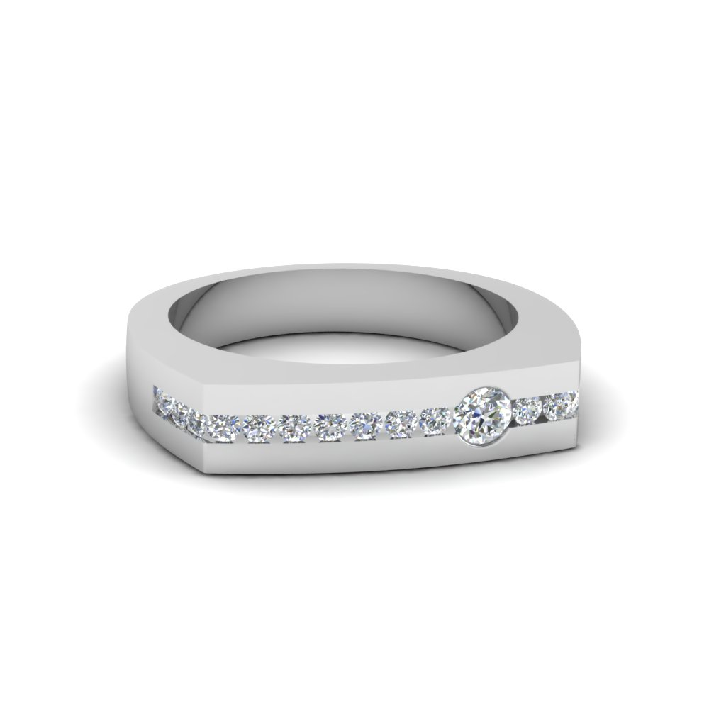channel set diamond mens band in 14K white gold FDMR136B NL WG