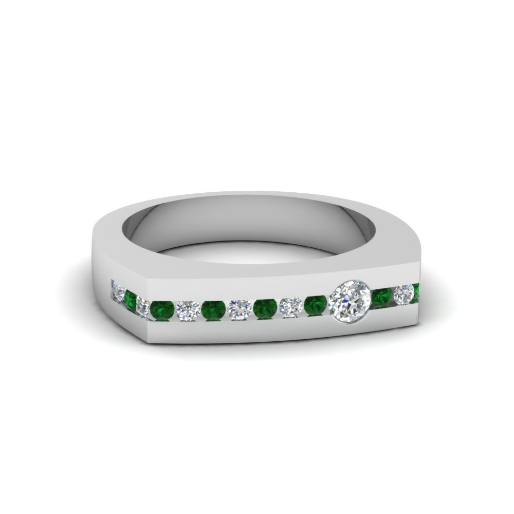 Emerald Mens Wedding Rings