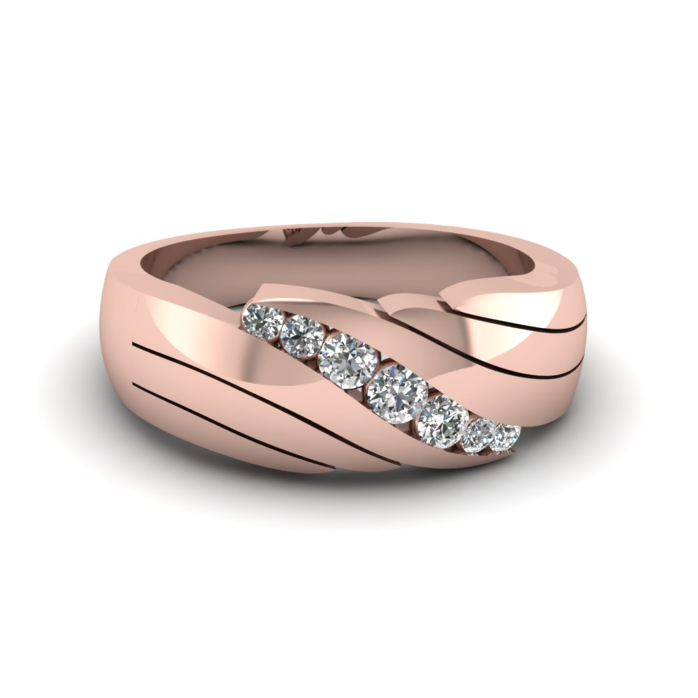 14k rose gold white diamond men 39 s wedding ring fascinating diamonds. Black Bedroom Furniture Sets. Home Design Ideas