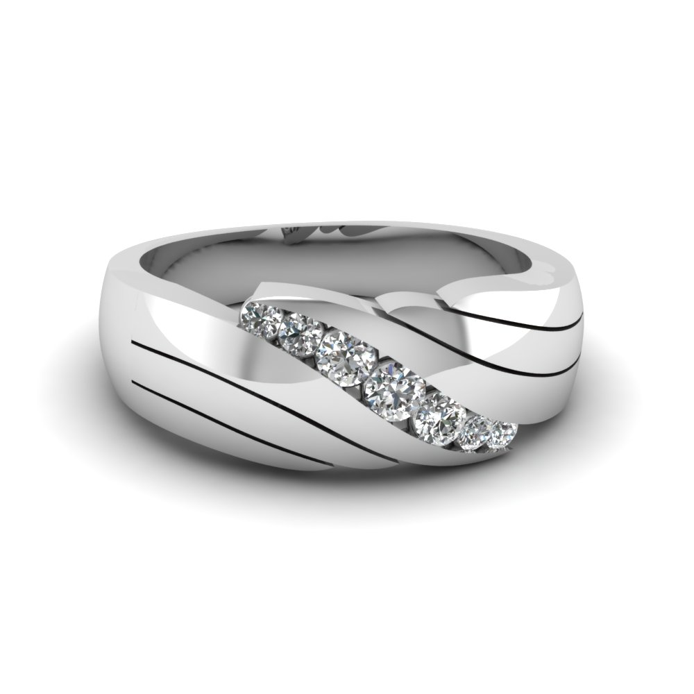 Channel Set Diamond Mens Wedding Ring In 14K White Gold