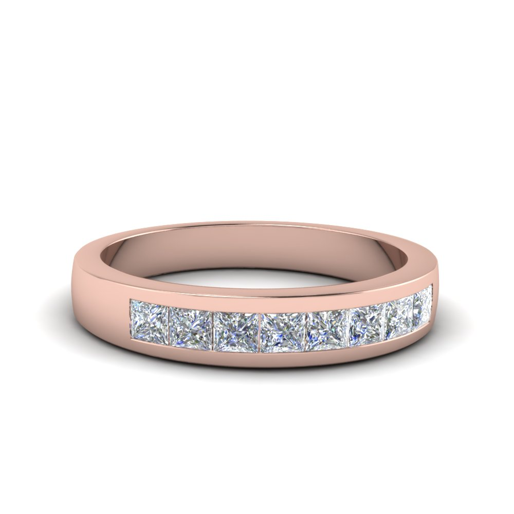 channel set diamond wedding anniversary band in 14K rose gold FDENS167B NL RG