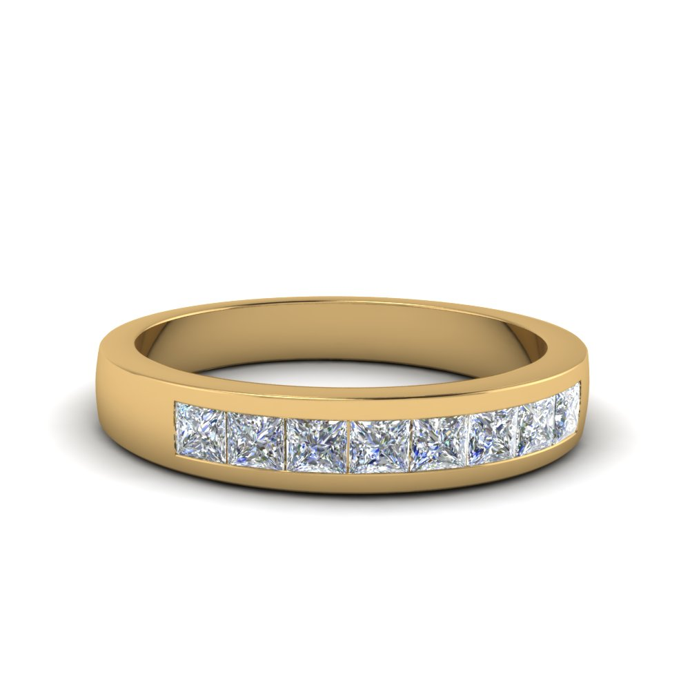 Channel Set Diamond Wedding Anniversary Band In 18K Yellow Gold FDENS167B NL YG