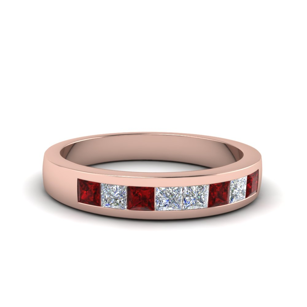 channel set diamond wedding anniversary band with ruby in 14K rose gold FDENS167BGRUDR NL RG