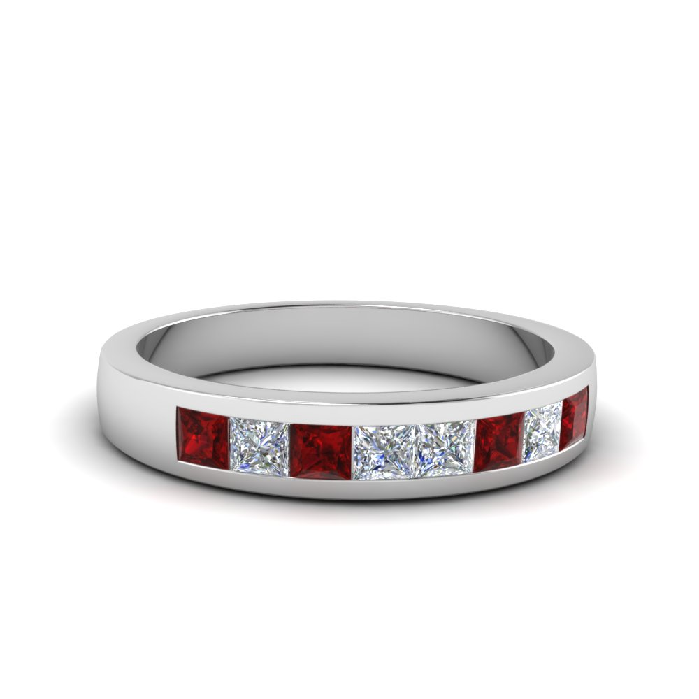 channel set diamond wedding anniversary band with ruby in 14K white gold FDENS167BGRUDR NL WG