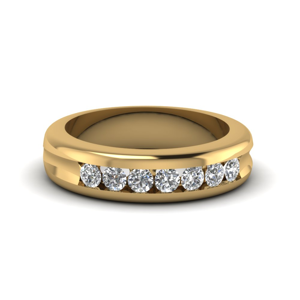 Channel Set Diamond Wedding Band In 18K Yellow Gold