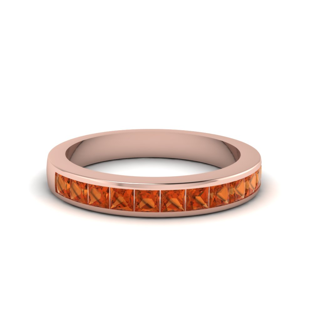 Channel Set Band With Orange Sapphire