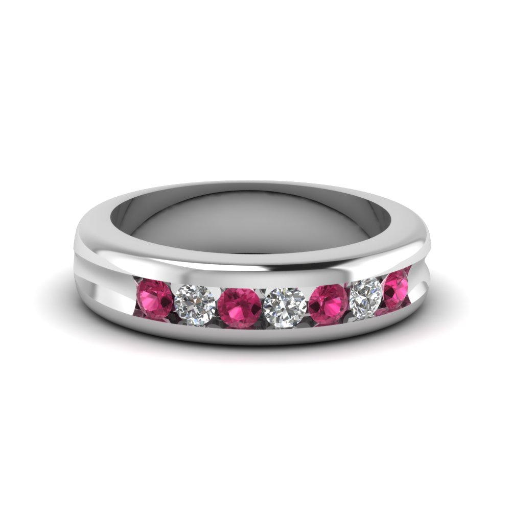 Womens Wedding Bands With Pink Sapphire In 14K White Gold