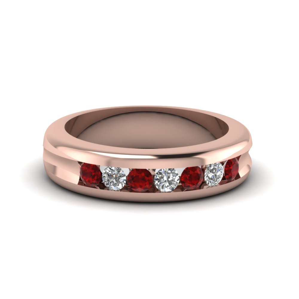 channel set diamond wedding band with ruby in FDWB700BGRUDR NL RG