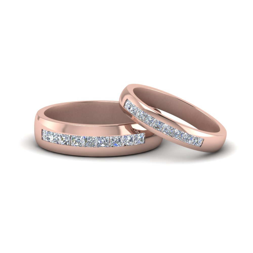 channel diamond matching wedding set in 14K rose gold FD8854B NL RG