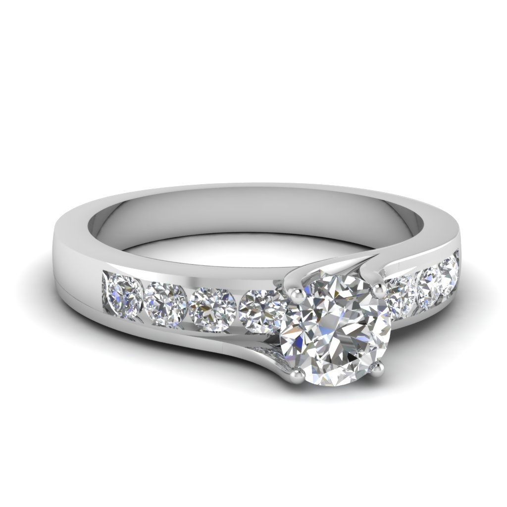 channel set one carat round diamond engagement ring in 14K white gold FDENR7771ROR NL WG