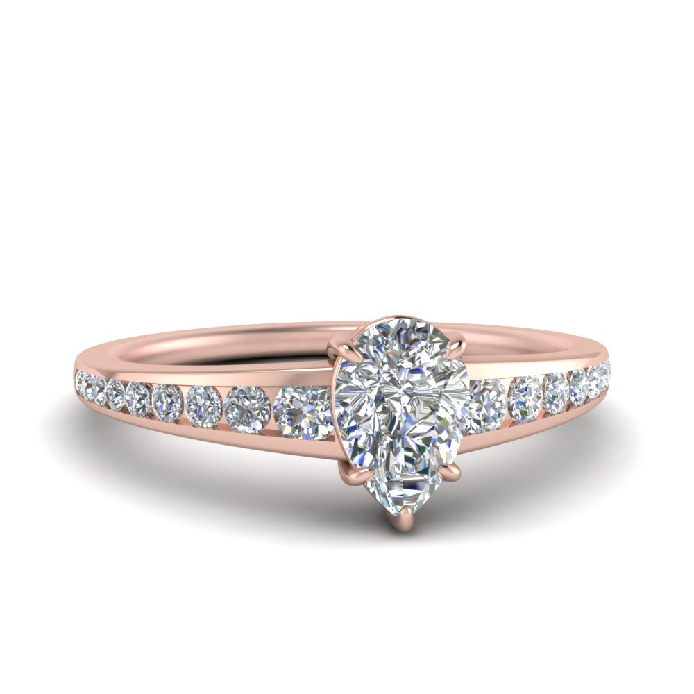 channel set pear shaped diamond engagement ring in 14K rose gold FD122866PER NL RG