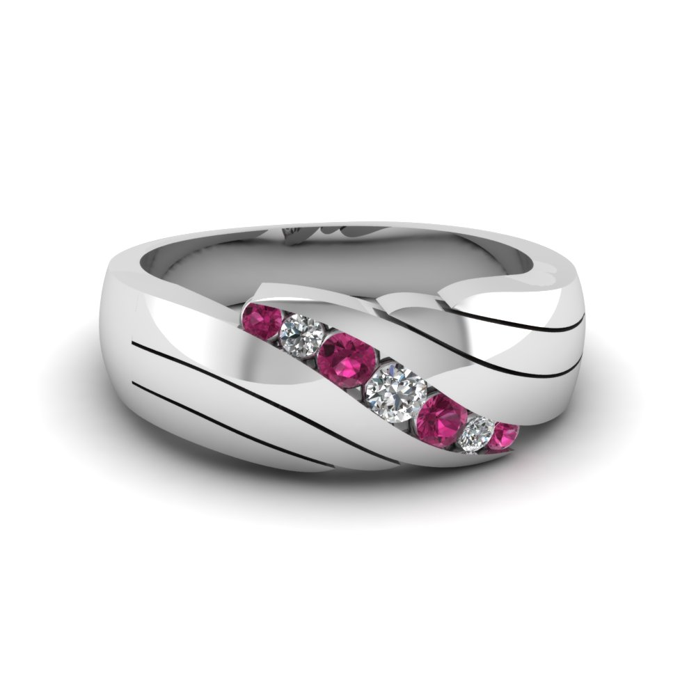 classic channel set diamond mens wedding band with pink sapphire in FDMR1192BGSADRPI NL WG