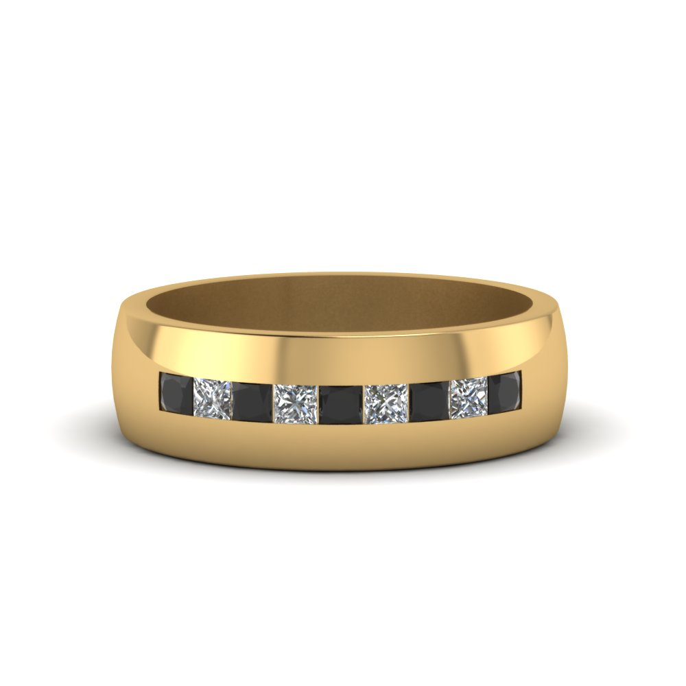 channel set princess cut band for men with black diamond in 14K yellow gold FDMR1097GBLACK NL YG