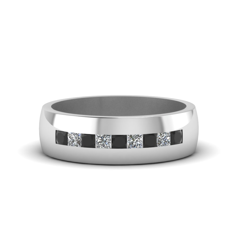 channel set princess cut band for men with black diamond in 18k white gold fdmr1097gblack nl - Mens Black Diamond Wedding Ring