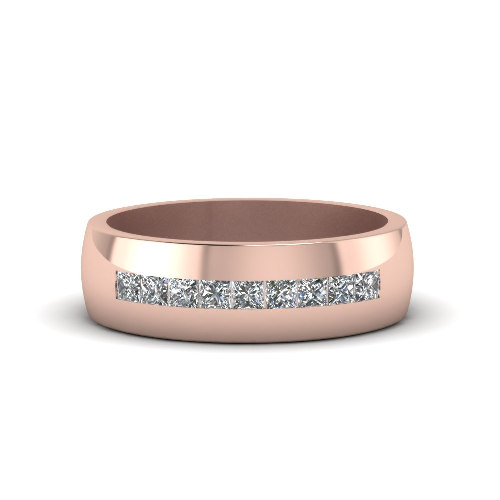 14K Rose Gold White Diamond Mens Wedding Ring Fascinating Diamonds