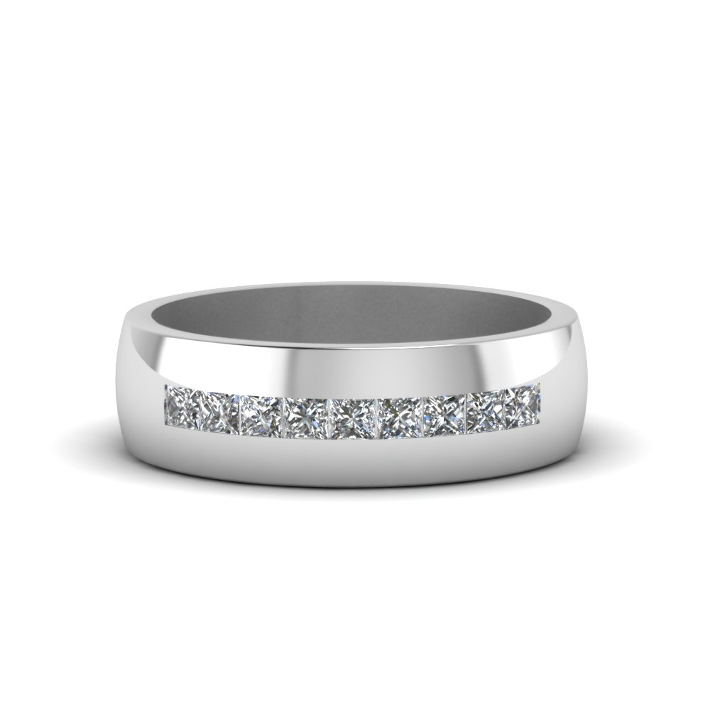 channel set princess cut diamond band for men in 14K white gold FDMR1097 NL WG