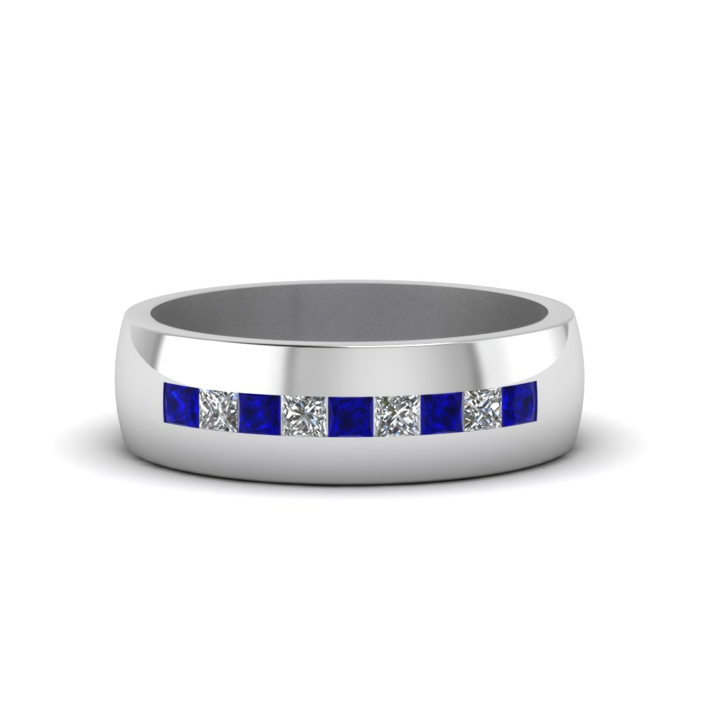 channel set princess cut diamond band for men with blue sapphire