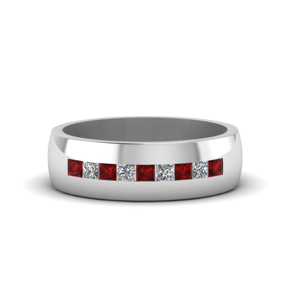 Channel Set Princess Cut Diamond Band For Men With Ruby In 14K White Gold FDMR1097GRUDR NL