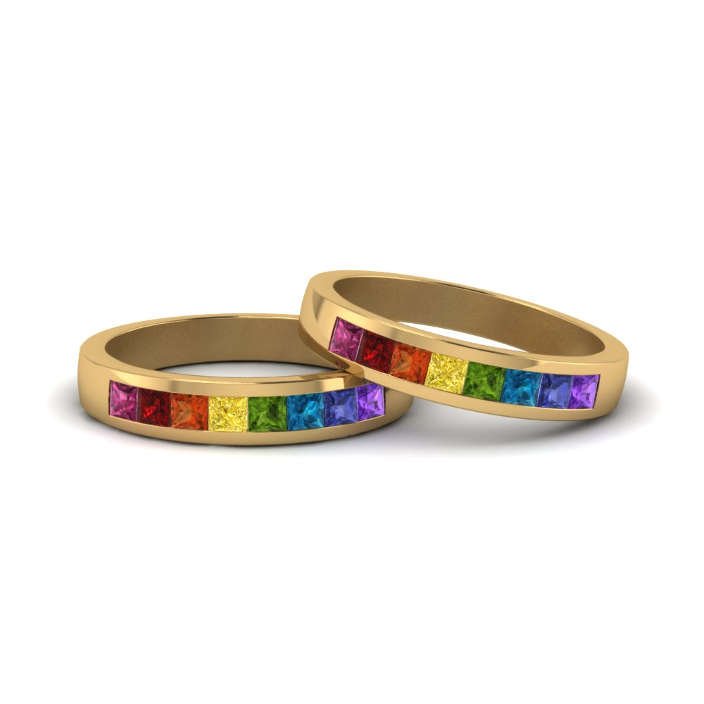 Rainbow Ring For Lesbian Couples