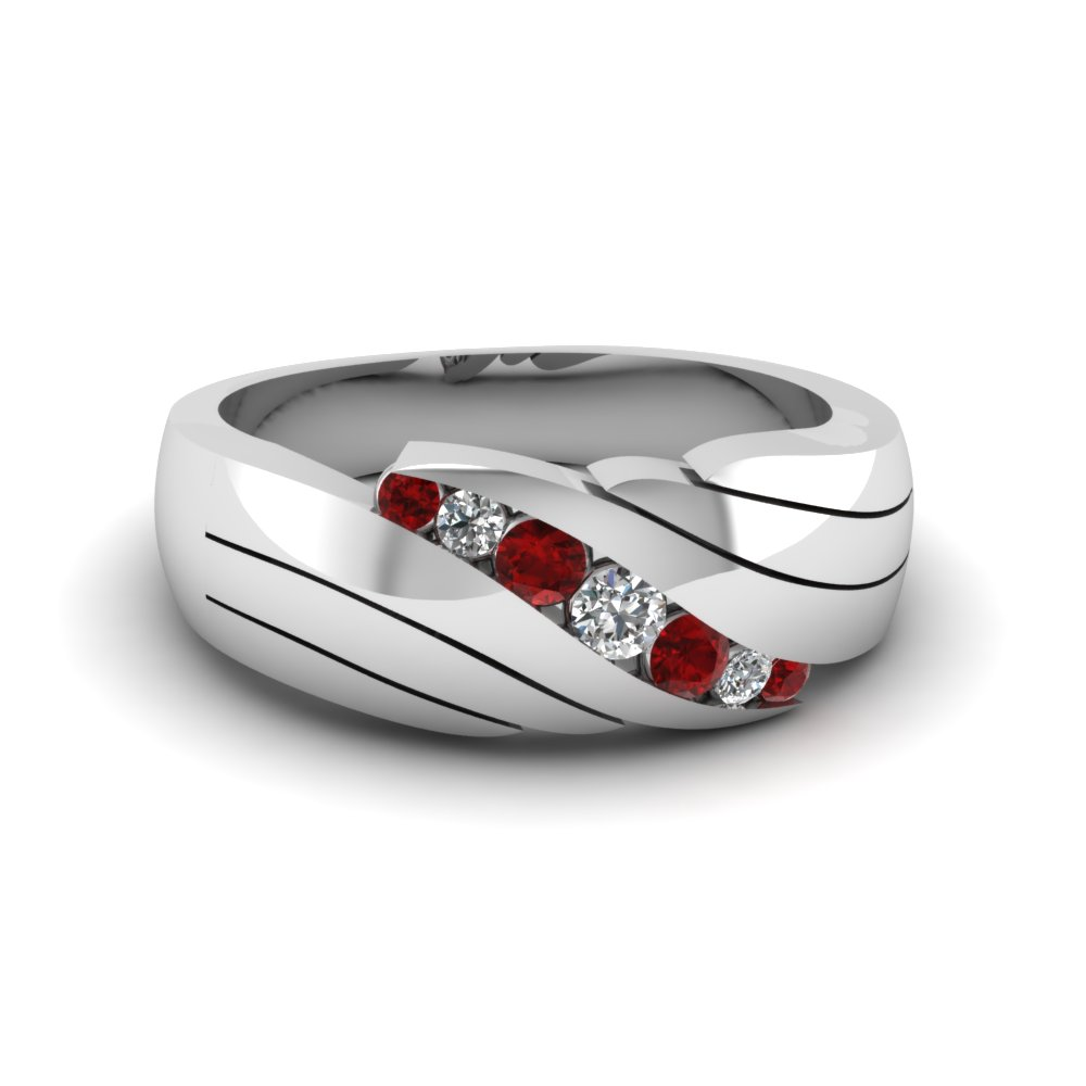 Channel Set Red Ruby Mens Wedding Ring In 14K White Gold FDMR1192BGRUDR NL WG