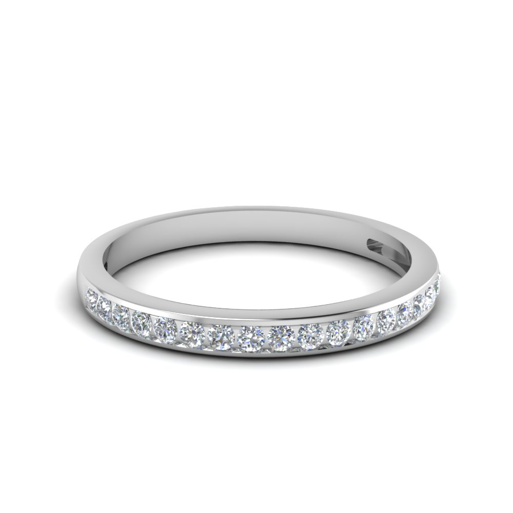 channel set round diamond women wedding band in 14K white gold FDENS3018B NL WG
