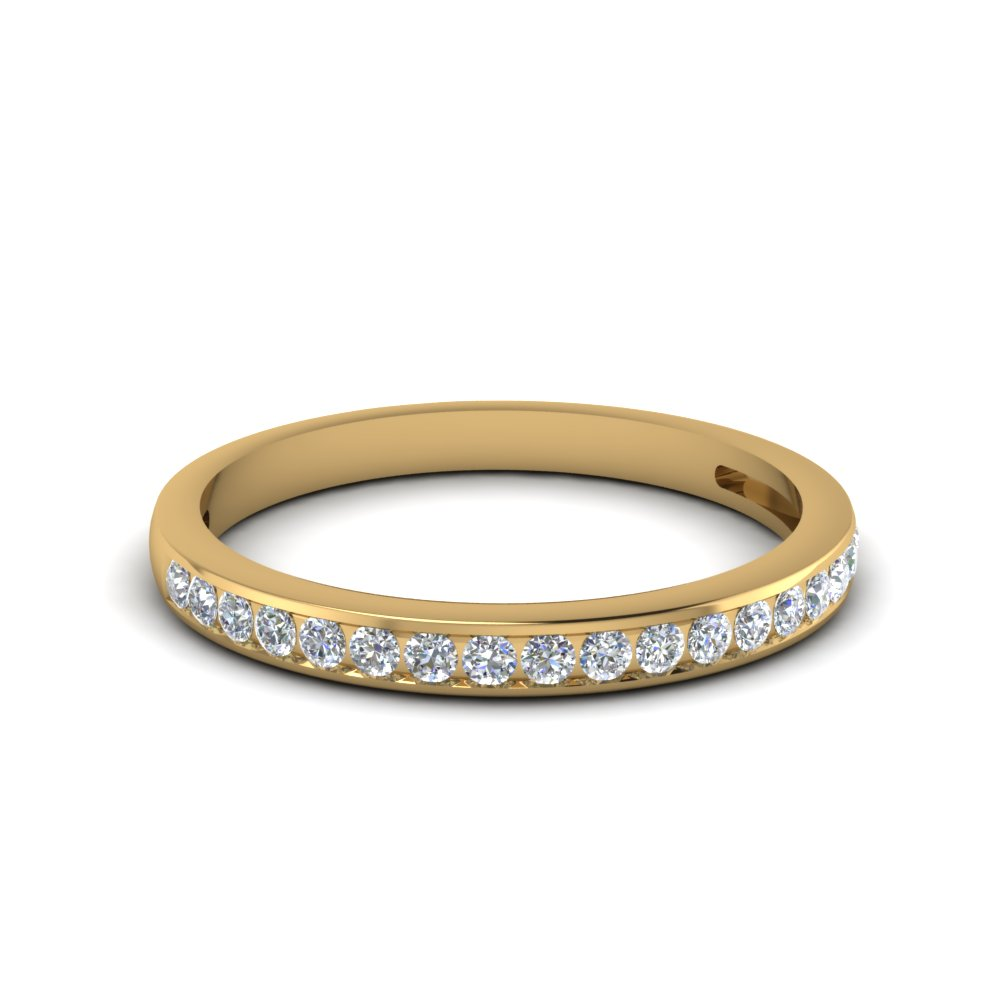 Channel Set Round Diamond Women Wedding Band In 18K Yellow Gold FDENS3018B NL YG