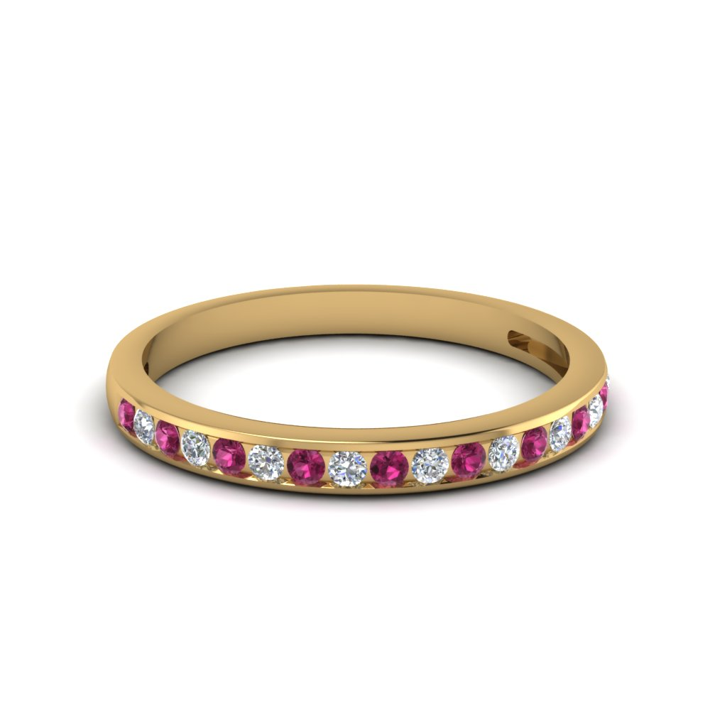 Channel Set Pink Sapphire Band