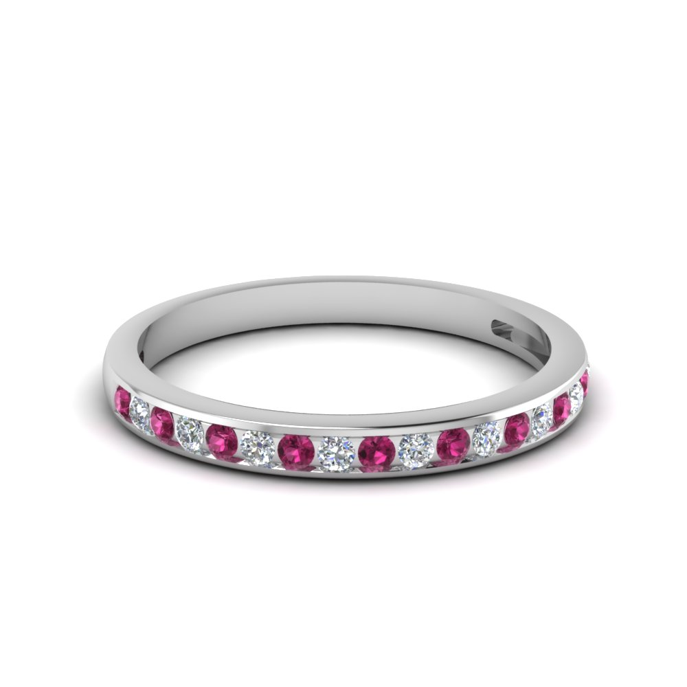 channel set round diamond women wedding band with pink sapphire in 950 Platinum FDENS3018BGSADRPI NL WG