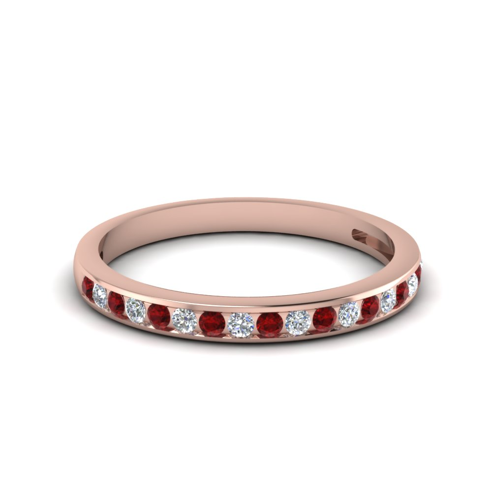 Channel Set Round Diamond Ruby Wedding Band