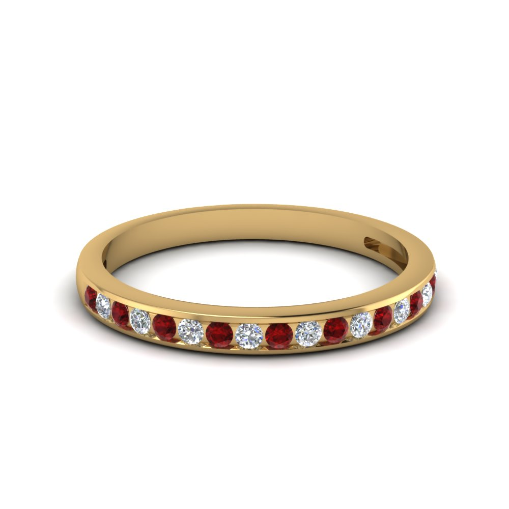 channel set round diamond women wedding band with ruby in 18K yellow gold FDENS3018BGRUDR NL YG