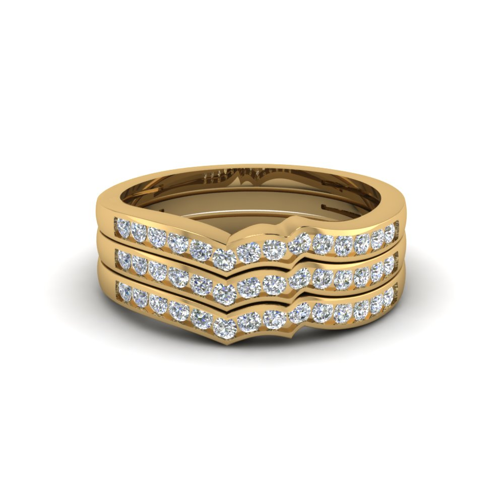 Channel Set Curved Stacked Wedding Bands