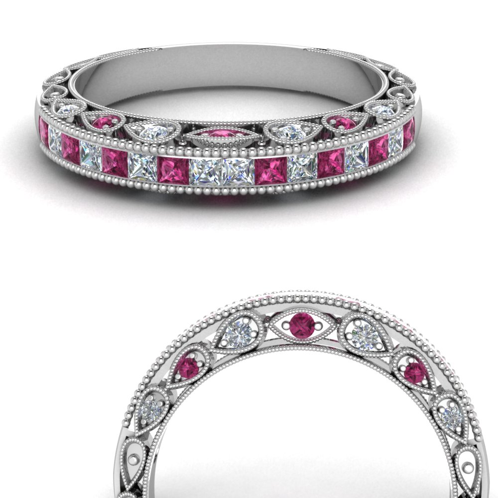 channel set vintage diamond wedding band with pink sapphire in FDENR6819BGSADRPIANGLE3 NL WG