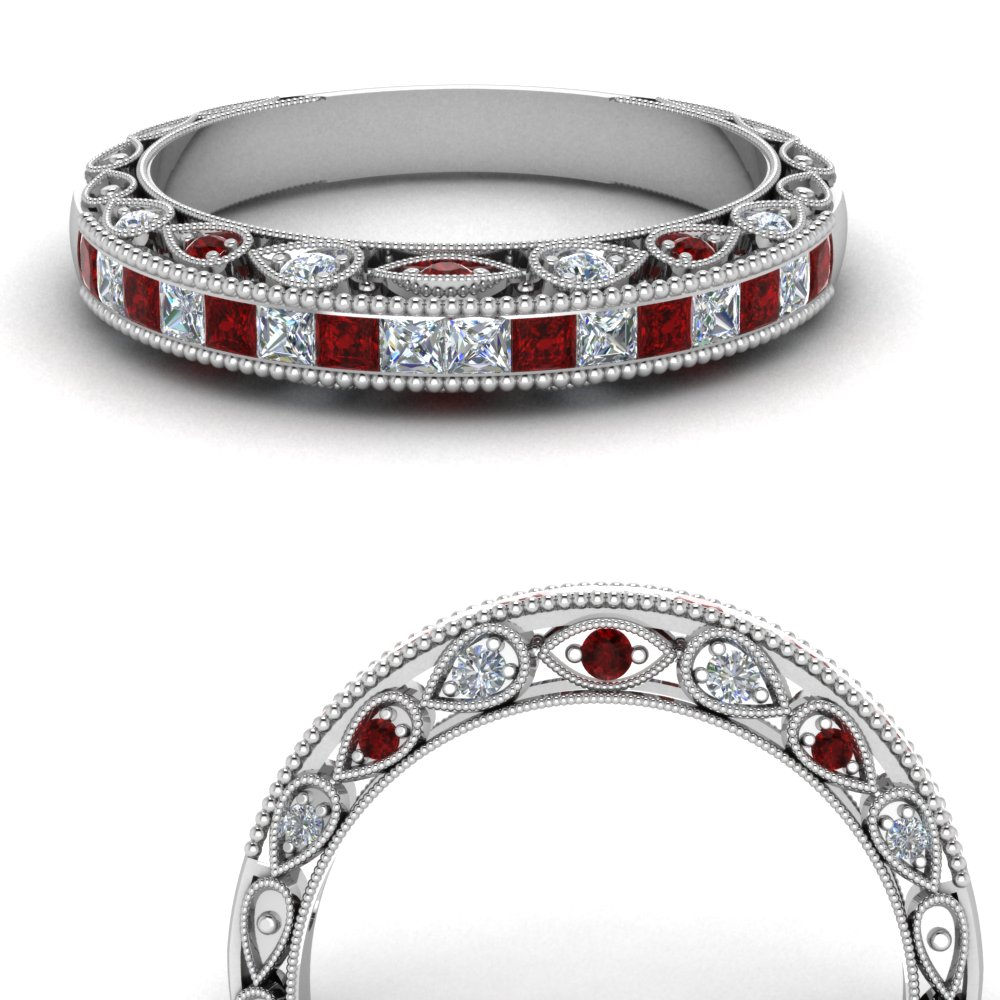 channel set vintage diamond wedding band with ruby in FDENR6819BGRUDRANGLE3 NL WG