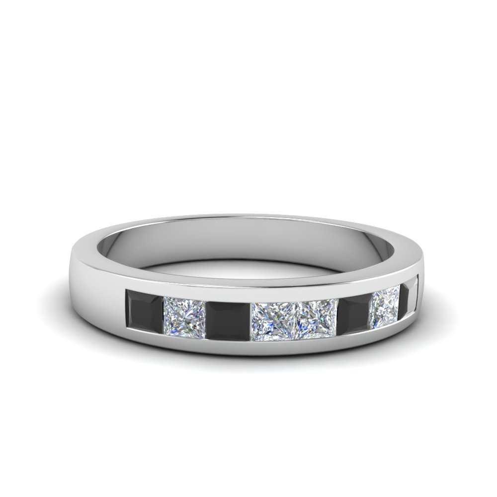 Channel Set Wedding Anniversary Band With Black Diamond In 14k White Gold Fdens167bgblack Nl Wg