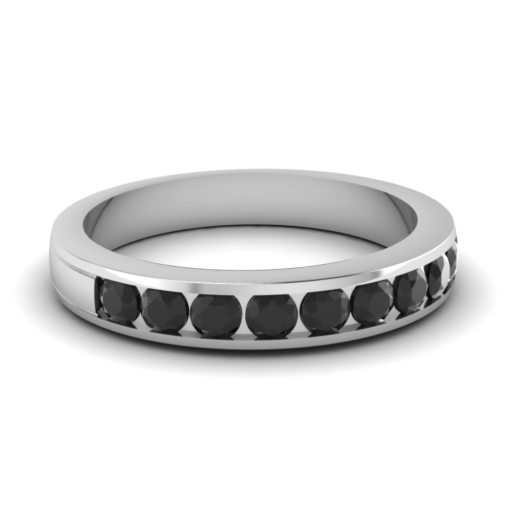 channel set wedding band white diamond with black diamond in 14K white gold FD1028BGBLACK NL WG