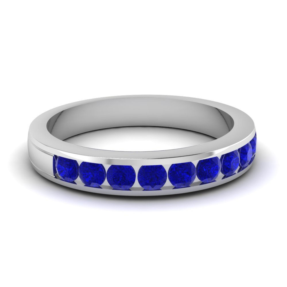 Channel Round Sapphire Wedding Band For Women in White Gold