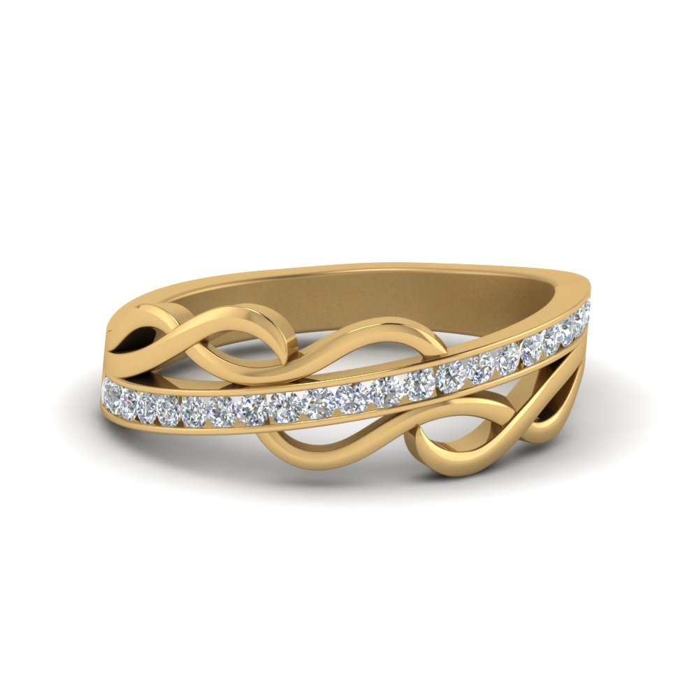 Twisted Diamond Wedding Band