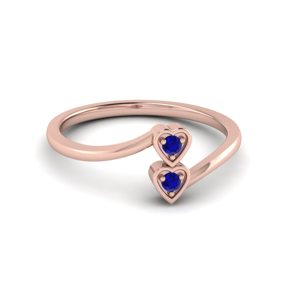 Red Ruby 2 Stone Crossover Promise Ring In 14K Rose Gold