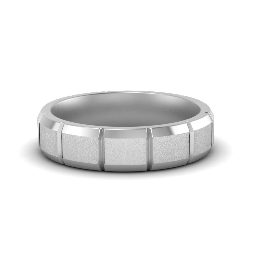 Affordable White Gold Wedding Band For Him