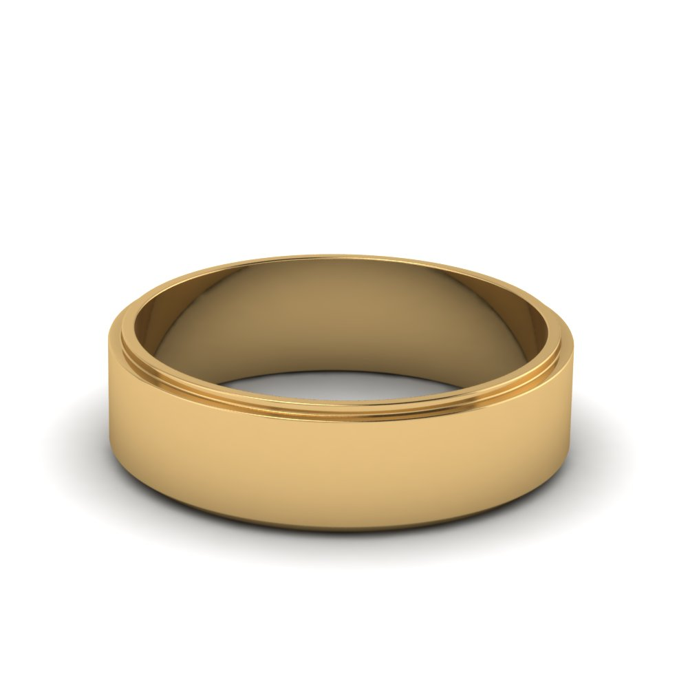 plain flat mens wedding band 6mm in 14K yellow gold FDFE7B 6MM NL YG
