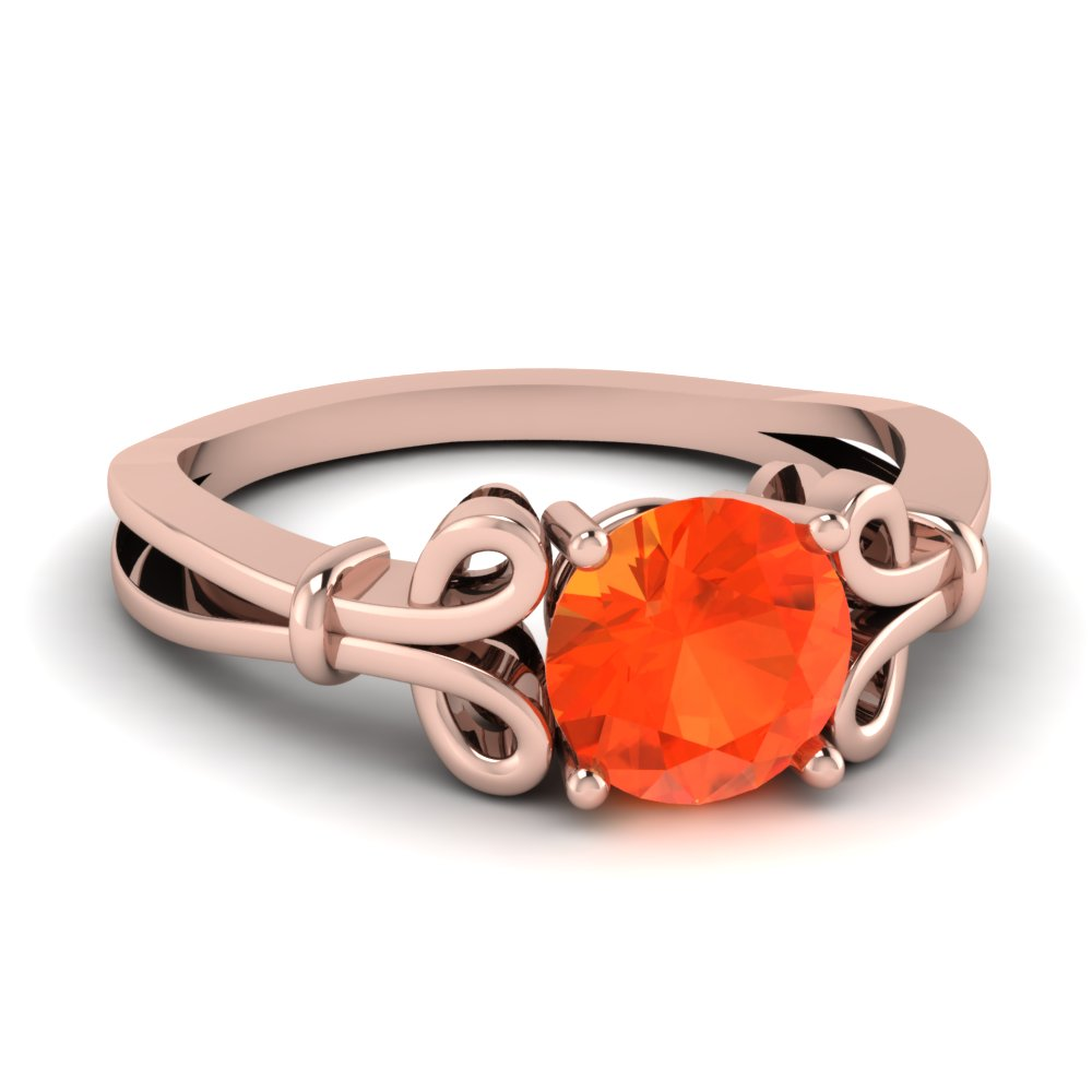 Bow Orange Topaz Engagement Ring