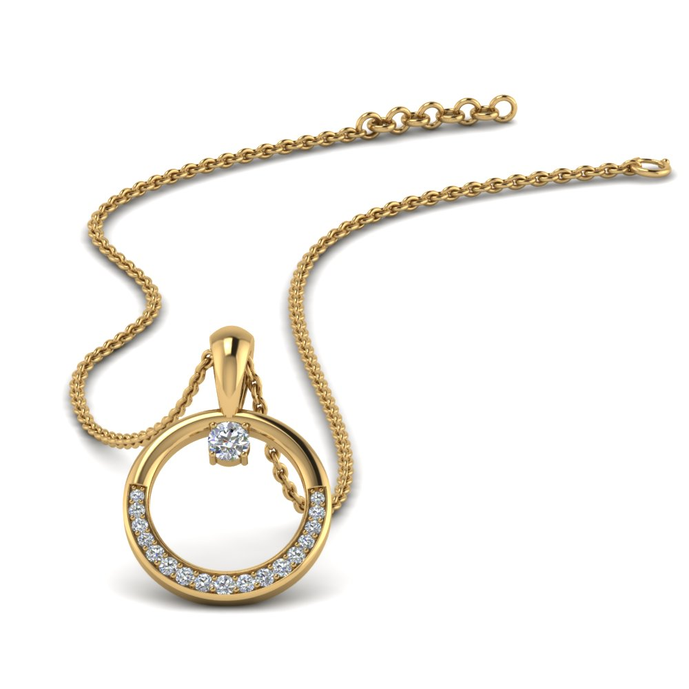 circle diamond pendant in FDPD9041 NL YG