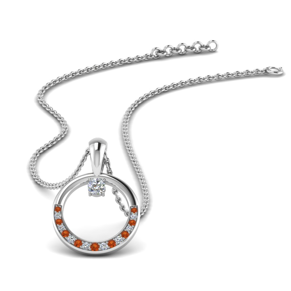 circle diamond pendant with orange sapphire in FDPD9041GSAOR NL WG