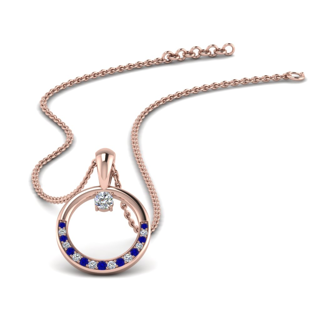 circle diamond pendant with sapphire in FDPD9041GSABL NL RG