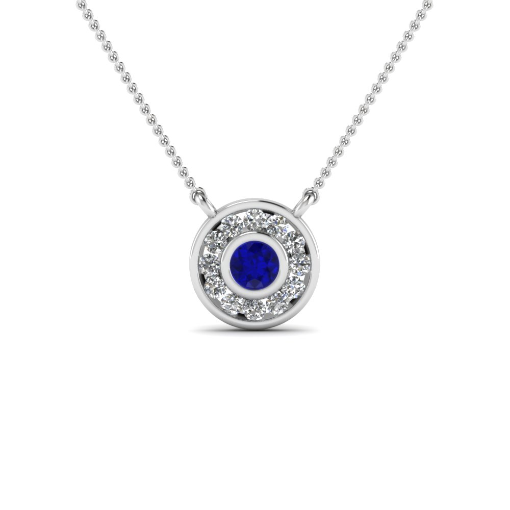 Circle pave diamond pendant necklace with blue sapphire in 14k white circle pave diamond pendant necklace with blue sapphire in 14k white gold fdpd384gsabl nl wg aloadofball Image collections