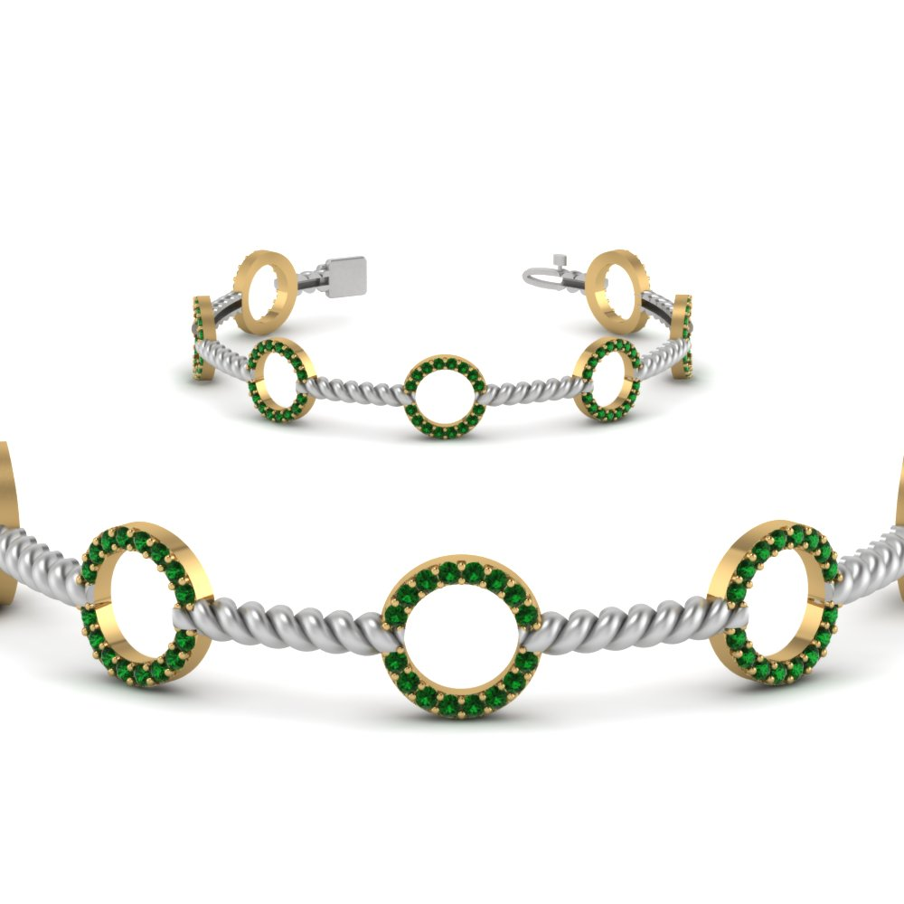 circle rope style 2 tone emerald bracelet in FDOBR70339GEMGRANGLE2 NL YG GS