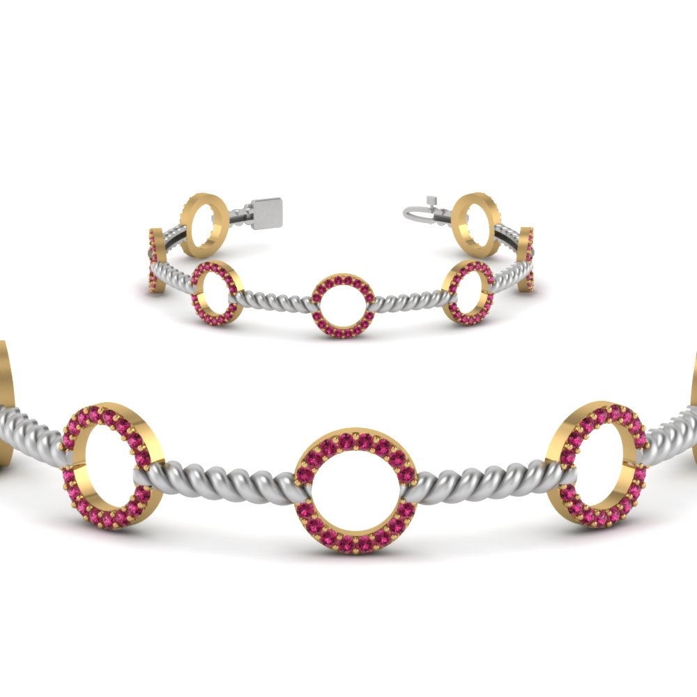 circle rope style 2 tone diamond bracelet with pink sapphire in 14K yellow gold FDOBR70339GSADRPIANGLE2 NL YG GS